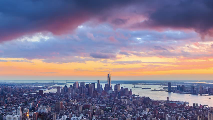New York City Manhattan skyline from sunset to night. Aerial timelapse. | Shutterstock HD Video #4796774
