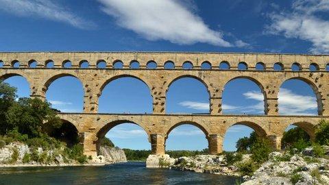 Time lapse of Pont du Gard, Roman aqueduct in Gard, France