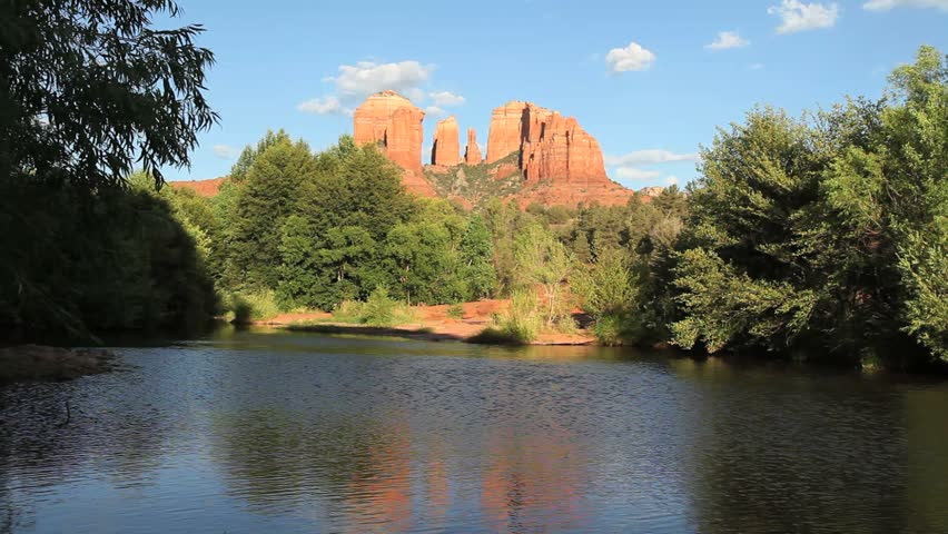 Cathedral Rock in Sedona with River and Trees
