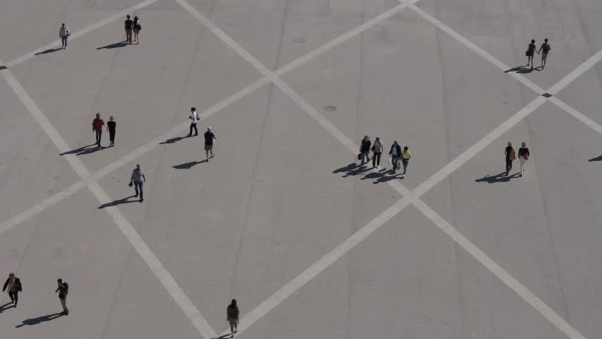 Aerial view of people walking in a square, part 2