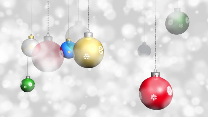 Hd0014Looping Christmas Ornaments With Snow Background