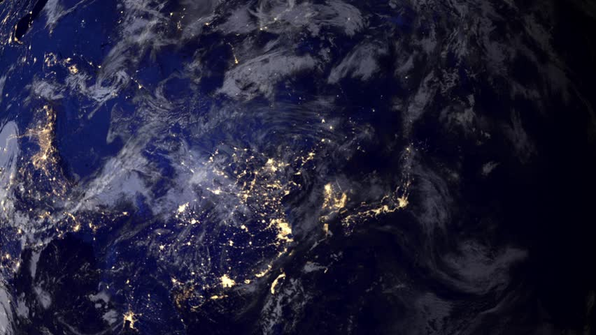 Telecommunication satellite over Asia, night view from space.. Cinema quality 3D animation. HD. The focus changes from earth to satelite and back through the clouds.  | Shutterstock HD Video #4829084