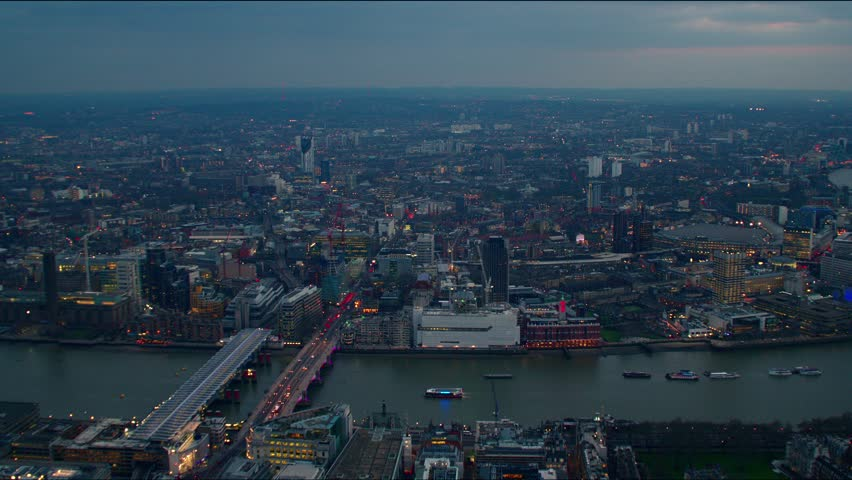 Evening aerial view of the City of London Financial District. Features the River Thames. | Shutterstock HD Video #4835990