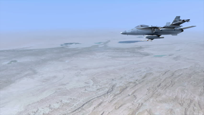 An F18 Hornet flying over the Middle East. The pilot turns his head towards the camera.  (Very detailed animation!)