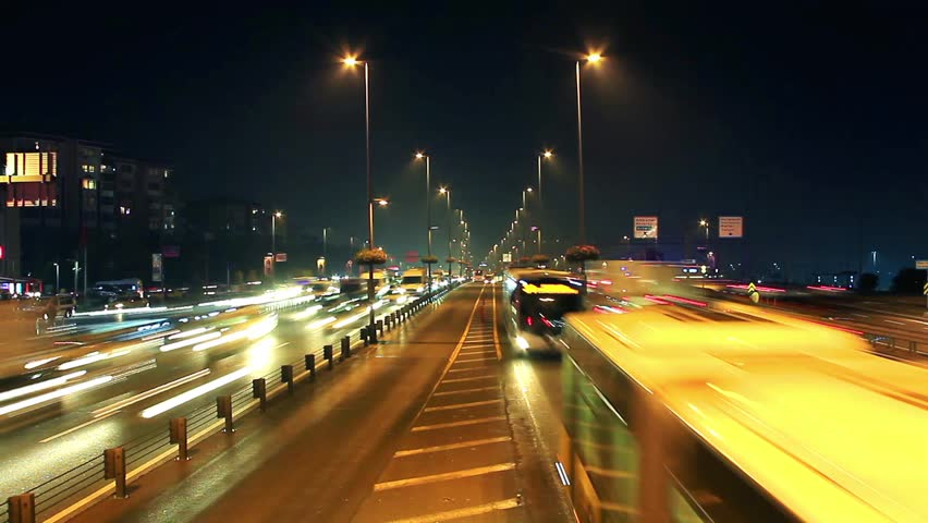 Night time lapse of traffic & lights on autobahn. Istanbul traffic was very