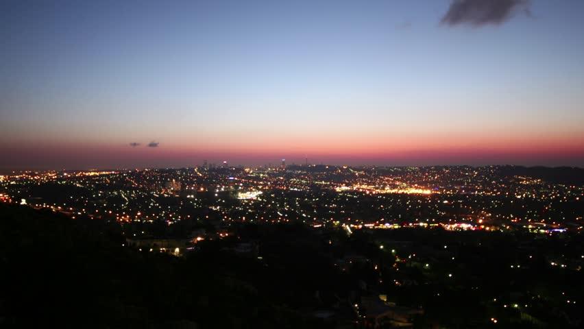 Skyline of Johannesburg, South Africa - time lapse