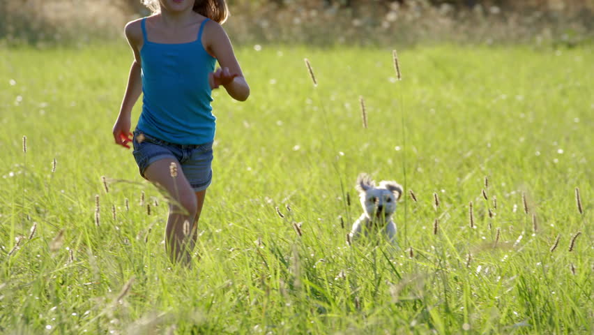 Young blonde girl runs through the park with her dog. Slow motion.
