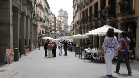 Madrid street with cafe
