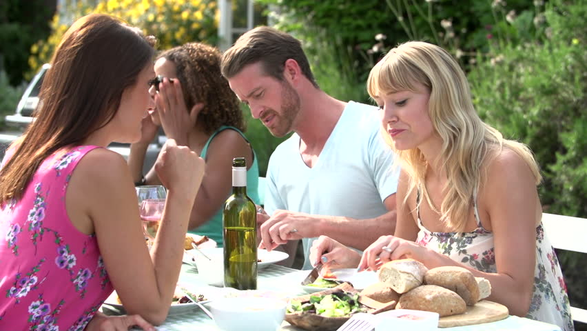 Dinner Party Video Part - 22: Group Of Friends Sitting Around Table Enjoying Outdoor Summer Dinner Party  - HD Stock Video Clip