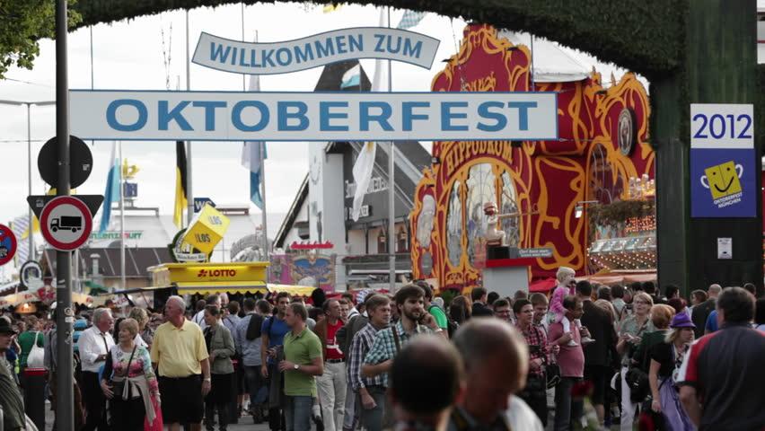 GERMANY - CIRCA 2012: Establishing shot of Oktoberfest in Germany.