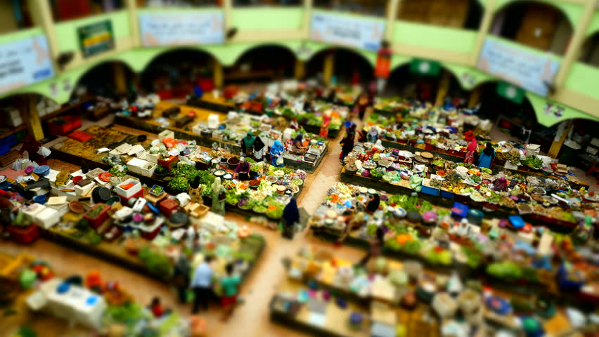 Miniature time lapse of people moving in a market in Kelantan, Malaysia.