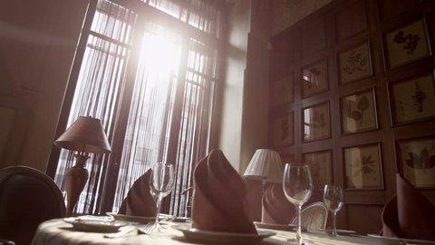 Interior of rich restaurant in sunlight
