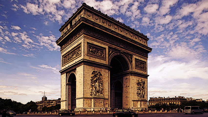 Timelapse of the arc de triomphe, with abstract saturated colours