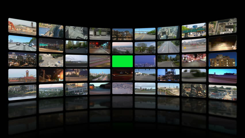 Video wall of HD transportation videos. Zoom into green screen center for adding your own videos.