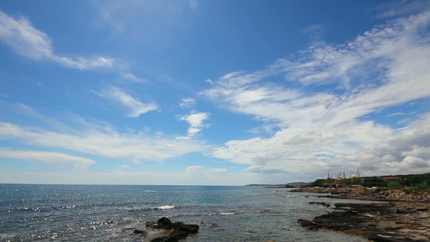 mediterranean sea with waves landscape in Turkey