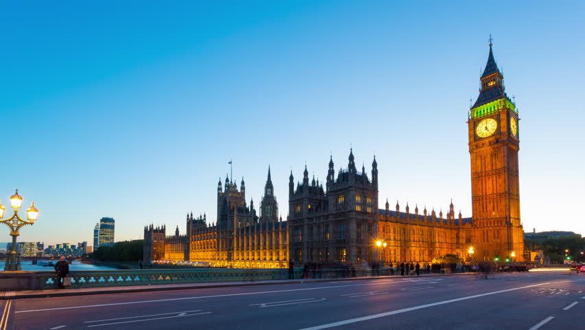 Time lapse footage of rush hour traffic on Westminster Bridge in London with Houses of Parliament and Big Ben in the background, London, England, United Kingdom