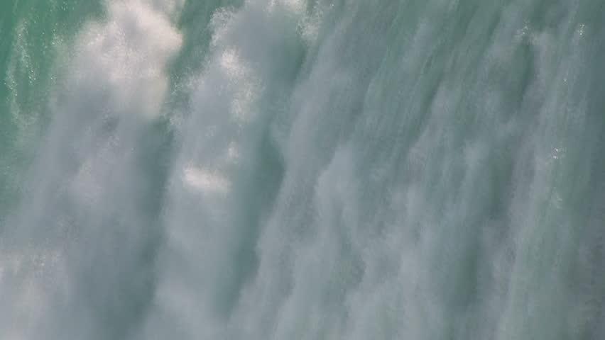 Falling water background. Niagara Falls close-up.