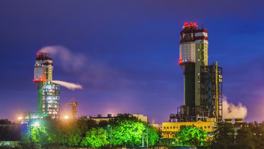 Night view of a plant for the ammonia production timelapse | Shutterstock HD Video #5014334