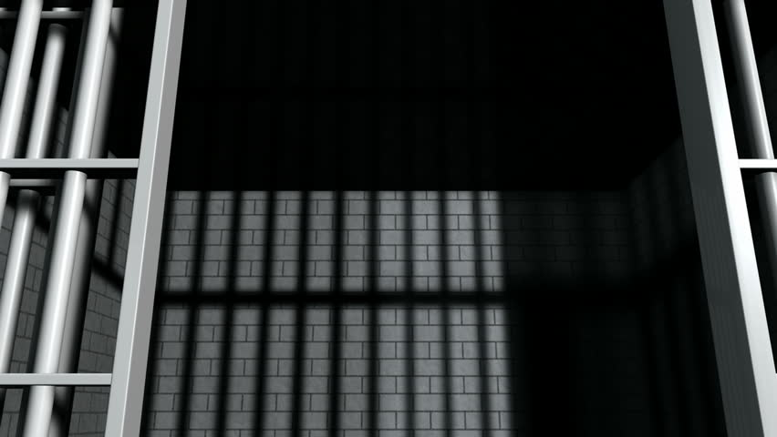 ... A static camera closeup of the door slamming shut a brick jail cell with iron bars ... & Jail door Footage | Stock Clips