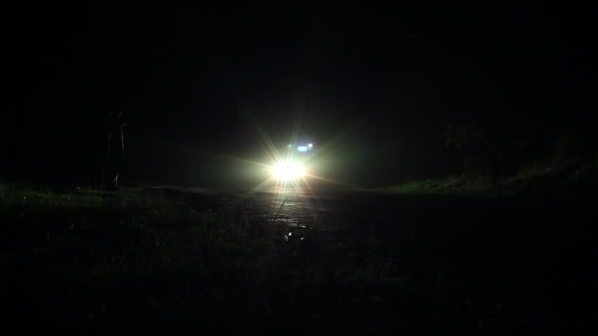 Frontal Shot Of Cars Headlights At Night Ride Stock Footage Video