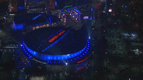 Los Angeles, California, USA - March 22, 2012: Aerial shot of STAPLES center stadium in downtown Los Angeles