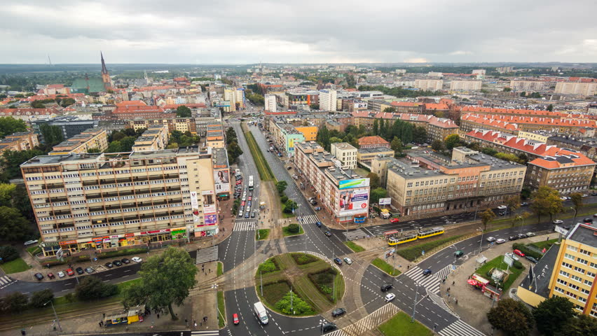 SZCZECIN - 28 NOV: Timelapse of Szczecin city centre with a view over a busy traffic interseaction in Poland on 28 November 2013 in Szczecin, Poland