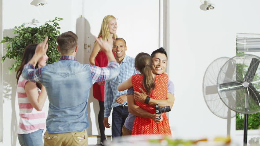 friendly couple hosting a party at home greet their guests as they arrive stock footage video 5099264 shutterstock - Hosting A Party At Home
