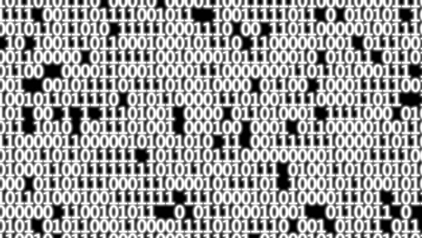 Frame full of binary code. Frame full of binary code. Camera zooms out after 100 frames.  First 100 and last 100 frames loop.
