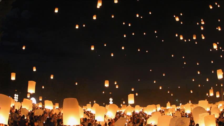 Floating lanterns in Yee Peng Festival, Loy Krathong celebration in Chiangmai, Thailand. #5112404