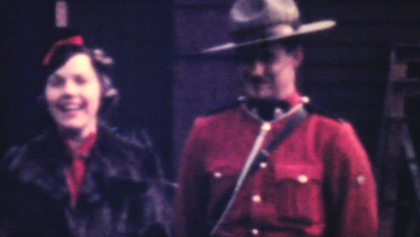 SAGINAW, ALASKA, 1940: A tourist meets a member of the Royal Canadian Mounted Police (RCMP) in northern BC in 1940.