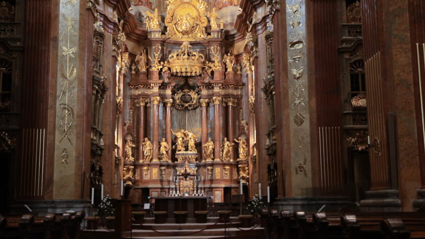 Tilt Up Of The Church Interior Of Melk Abbey Austria In The Wachau Valley, With It's Ornate Gold Alter One Of The Most Important Monastic Sites In The World.