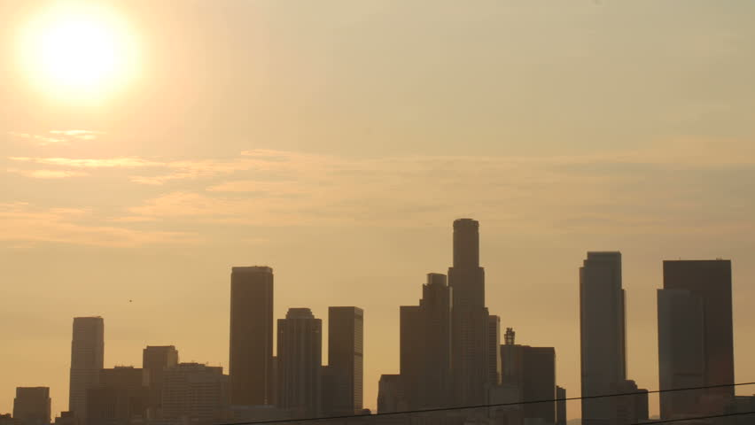 Timelapse sunset over downtown Los Angeles