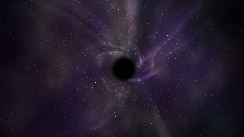 Graphic simulated view of a black hole in the middle of the outer space, with stars and diffuse rays of light