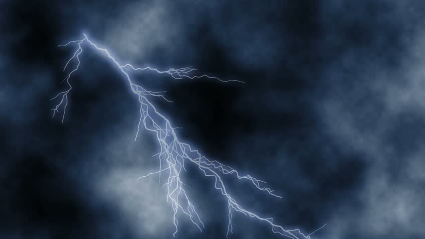 Lightning Bolts Over A Very Quickly Moving Clouds Background