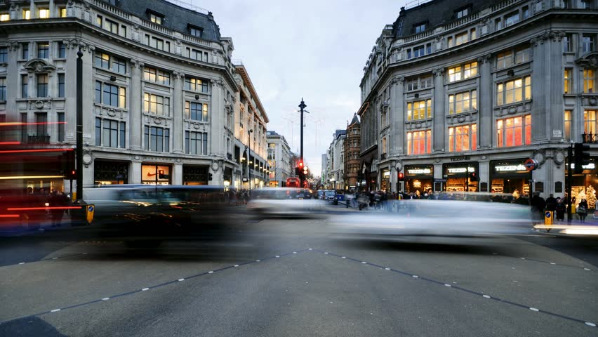 UK, England, London, Oxford Circus, Oxford Street and Regent Street, Christmas Lights (Time Lapse)