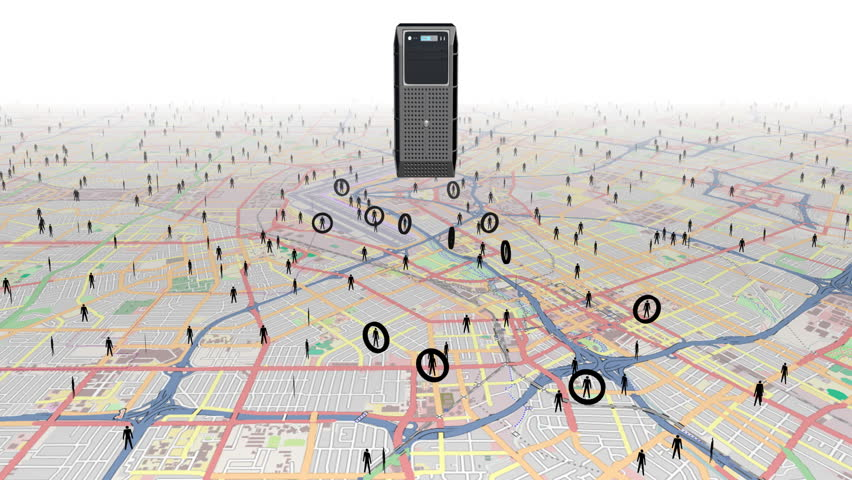 Tracking people using digital surveillance. A computer server locates and tracks targets moving on a  city map.