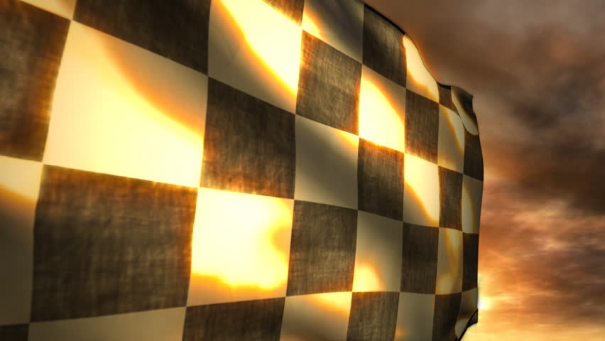 (1115) Checkered Race Flag and Sunset Blowing in Wind. Great for racing themes and competition, leadership, success, achievement, adrenaline, motor sports ...
