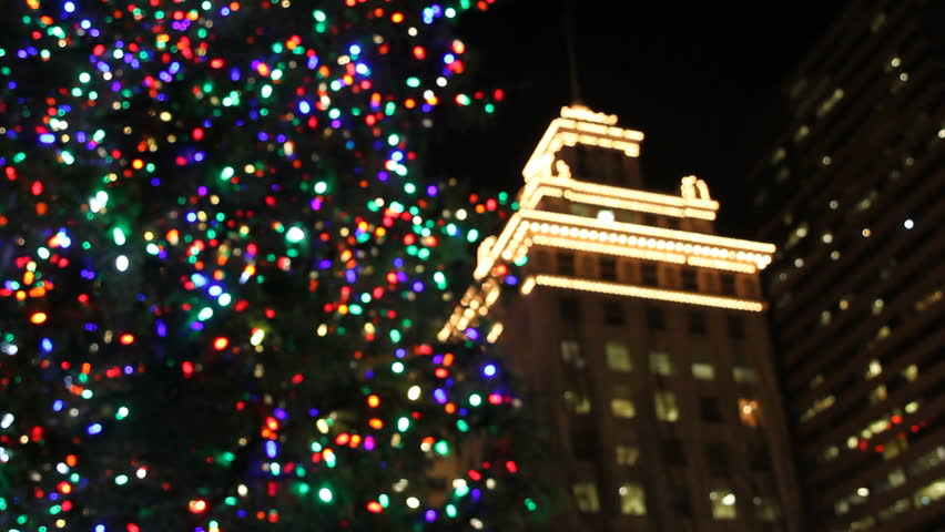 Holiday Christmas Tree with Festive Colorful Lights in Pioneer Courthouse Square at Night 1920x1080