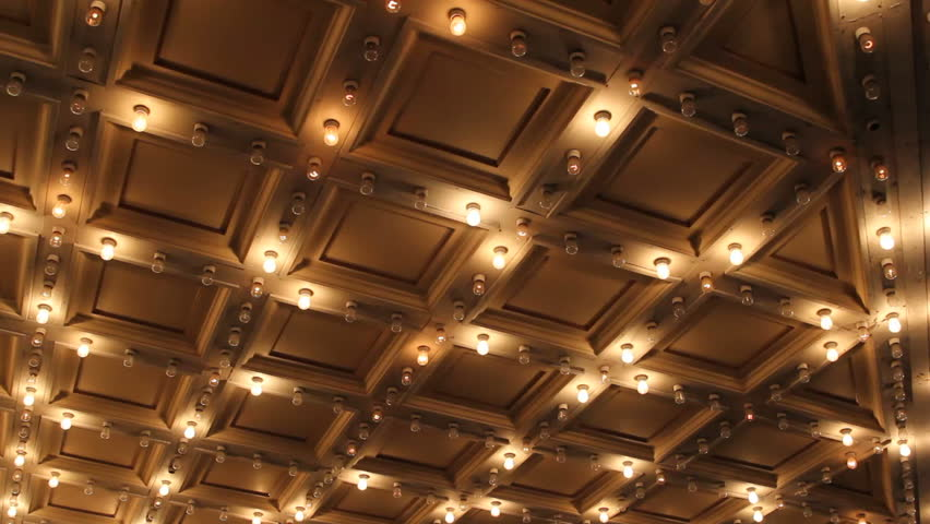 Theater Ceiling With Retro Flashing Stock Footage Video 100