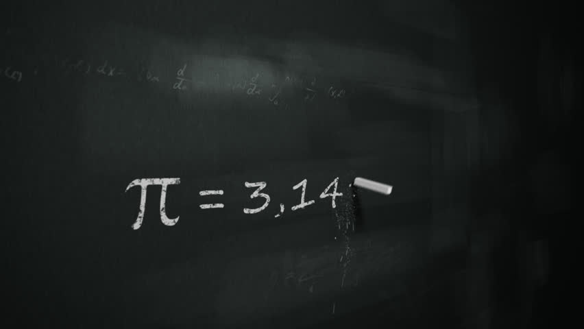 Animation of drawing word 'pi' number on chalkboard.