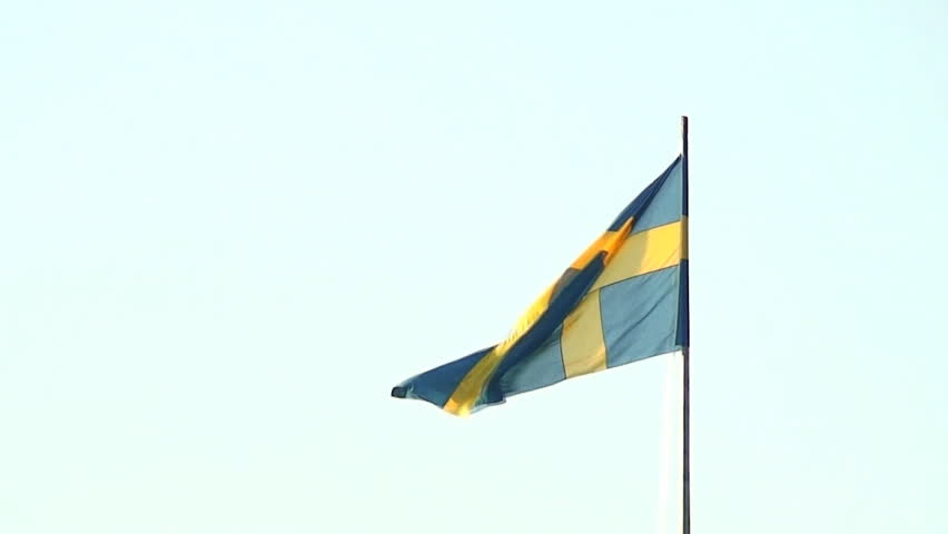 Sweden country flag moving in the wind