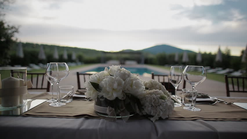 Bride And Groom Table With Pool   HD Stock Video Clip