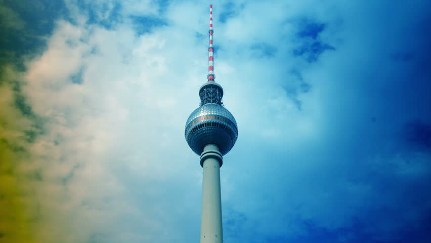 Fernsehturm (Television Tower) located at Alexanderplatz in Berlin, Germany, time lapse,4k
