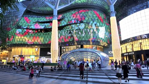 ORCHARD ROAD, SINGAPORE - DEC 19: Time lapse of people at ION Orchard shopping mall and metro entrance on December 19, 2013 in Singapore