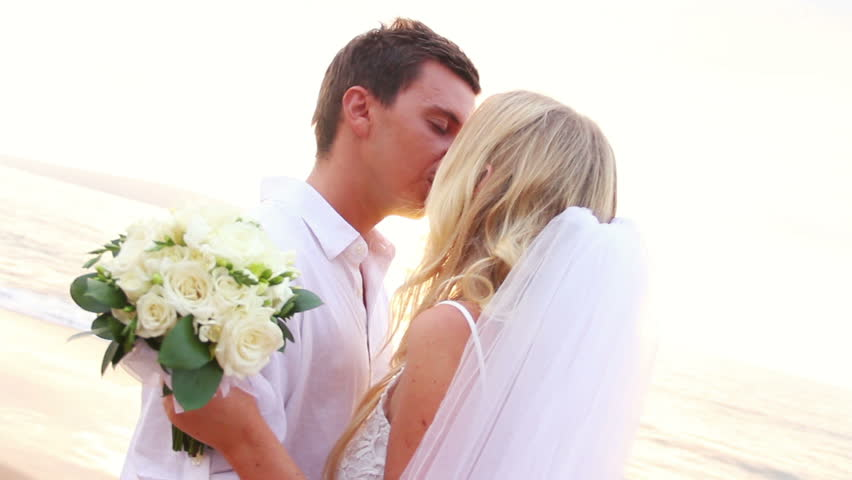 Hy Bride And Groom Sunset Wedding On Tropical Beach Hd Video