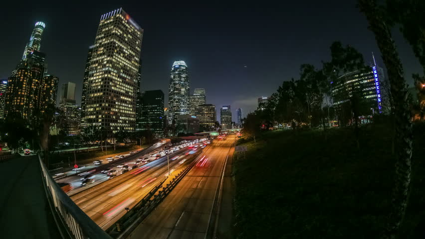 City traffic panning time lapse in downtown Los Angeles at night. #5289311