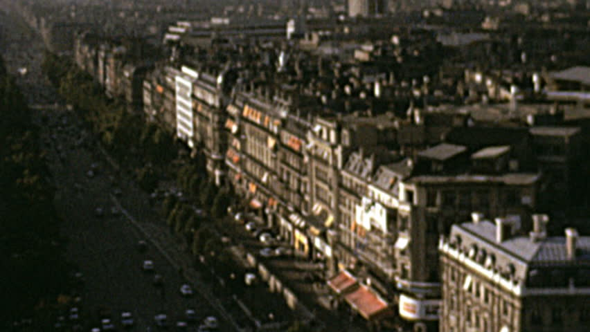 PARIS – OCTOBER 1973: heavy traffic at Champs Elysee on October 1973 in Paris | Shutterstock HD Video #5312609