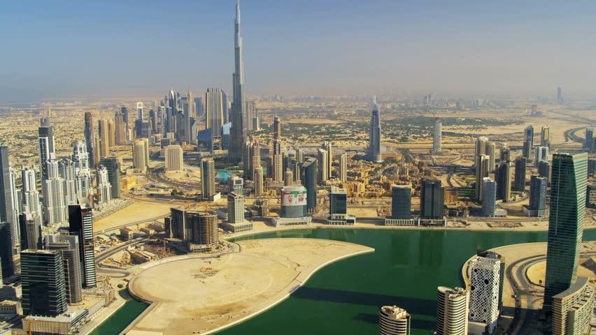 Aerial view Burj Khalifa Dubai Creek and downtown Dubai, UAE, RED EPIC, 4K, UHD, Ultra HD resolution