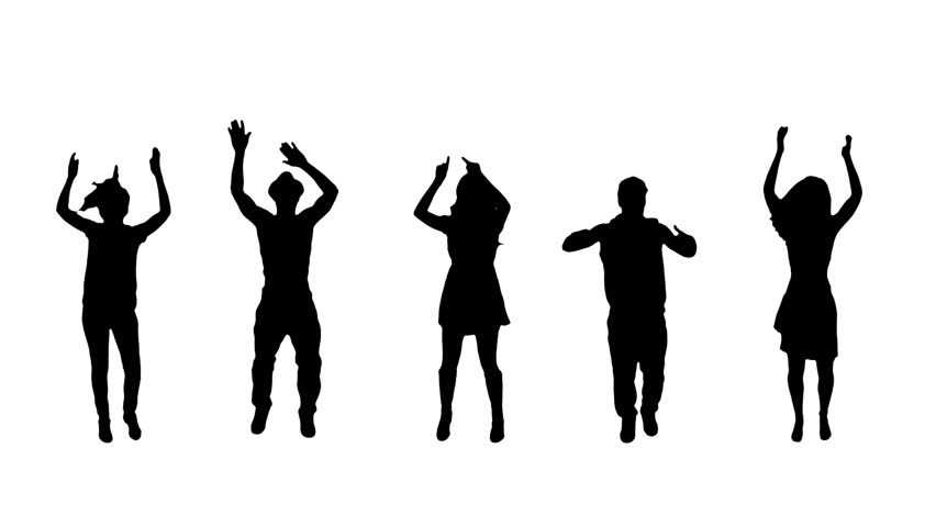 Clapping and cheering full length silhouettes. 5 in 1.   More options in my portfolio.
