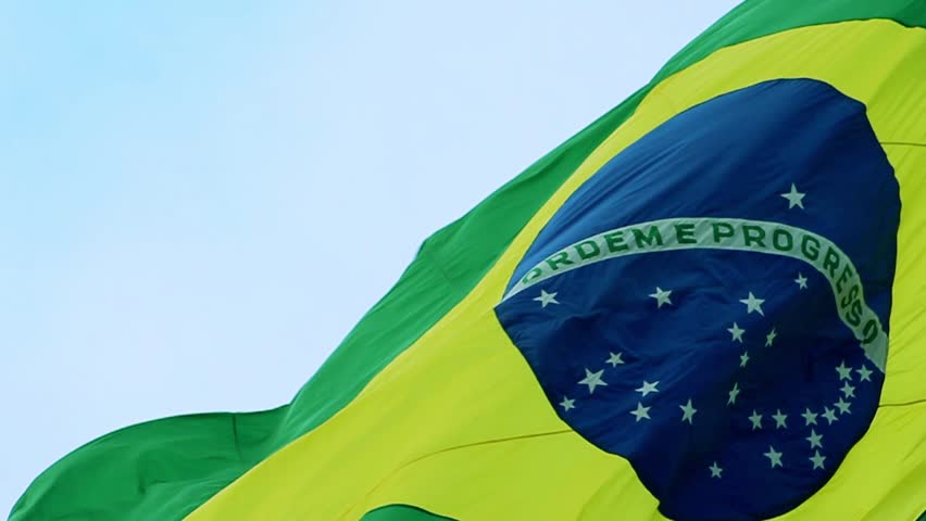 Real Brazil flag waving in the wind in slow motion
